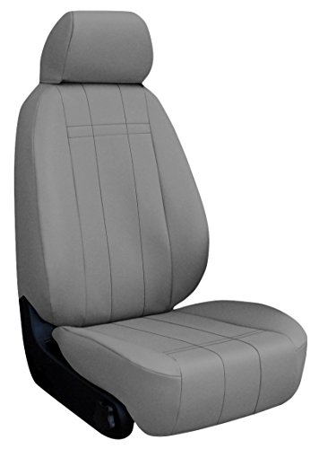 Custom Fit Ford F350 Seat Covers (2011-2015) Rear Seat Set - In Leatherette Light Gray - 40/60 Bottom W/ Solid Back And Headrests (Hr Covers Not Available) (Supercab)