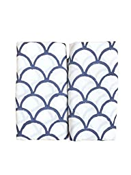 Anora Cotton Baby Swaddle Blankets ★ White and Blue Color★ Made with Organic Cotton; Soft and Lightweight; Breathable and Absorbent; Durable and Eco Friendly★ Set of 2 (White and Navy)