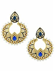 The Art Jewellery Rajwadi Blue Color Chand Shaped Dangle&Drop Earrings For Women