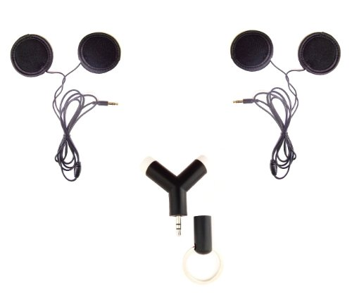 Kokkia H10Black_X2_Ysplitter (Black Cables) 2 H10_Black Sports/Motorcycle Helmet Earphones (Stereo) And Y-Splitter, Great Bass And Loud - Can Attach To Ipods/Iphones/Ipads/Mp3/Cd/Bluetooth Receiver Devices With 3.5Mm Audio Jack. For Biker-Riders And Their