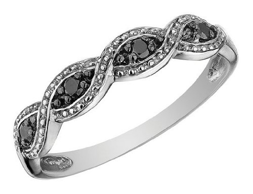 Infinity Black Diamond Ring in 10K White Gold, Size 6
