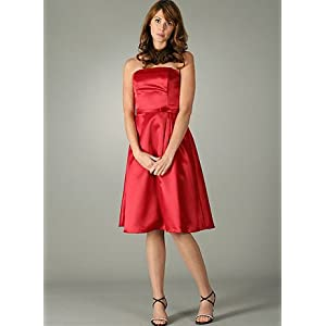 Amazon.com: Strapless Satin Classic A Line Dress for Bridesmaid Formal Prom Wedding: Clothing from amazon.com