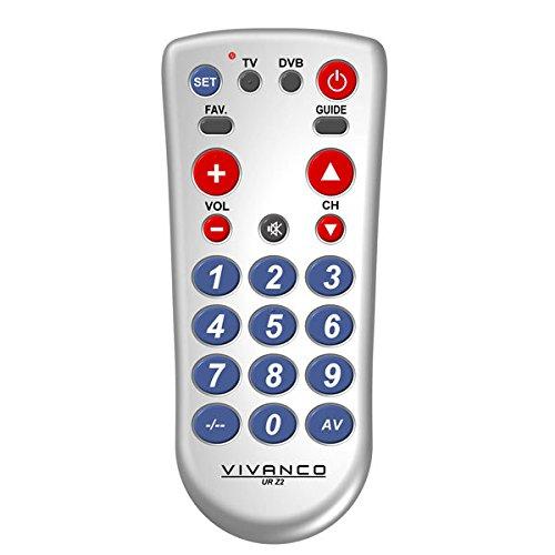 Vivanco UR Z2 2-in-1 Universal TV/DVB-Fernbedienung mit großen Tasten silber thumbnail