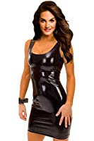 Ninimour- Gothic Hot Fashion Dress Metallic Wetlook Clubwear Stripper