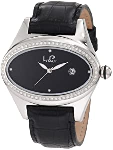 Lucien Piccard Women's 746.20.286 Grand Ducato Diamond Accented Black Leather Watch