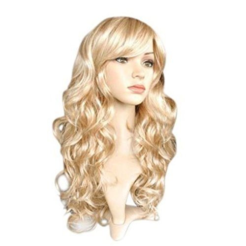 [Nouqi® Womens Sexy 50cm Long Mix Blonde Gold Wavy Fashion Wig] (Long Sexy Wigs)