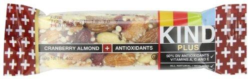 KIND PLUS, Cranberry Almond + Antioxidants, Gluten Free Bars 1.4 OZ (Pack of 12)