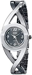 XOXO Women's XO5218 Black Dial Two-Tone Half Cuff and Half Bracelet Watch