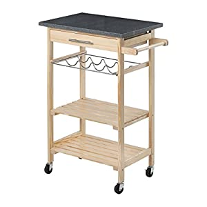 Premier Housewares Hevea Wood Kitchen Trolley with Granite