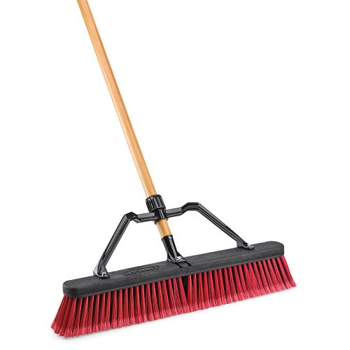 LIBMAN 824 Push Broom with Hard Polymer Support Brace, 18
