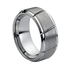 buy Tungsten Carbide Multiple Diagonal Grooves Brushed Center 9Mm Wedding Band Ring, 6 Size