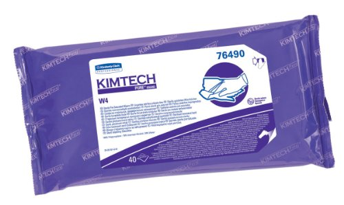 "Kimberly-Clark Kimtech 76490 Pure Disposable Wiper With W4 Pre Saturated Sterile, 11"" Length X 9"" Width, White, (10 Pouches Of 40)"