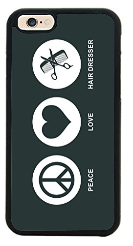 Rikki Knighttm Peace Love Hair Dresser Green Color Design Iphone 6 Case Cover (Black Rubber With Front Bumper Protection) For Apple Iphone 6 front-62948