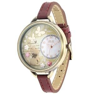 ufengke-ミニレトロヴィンテージアンティークファッション子供腕時計-蝶花のウサギのテーマ