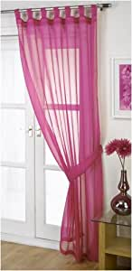 Woven Voile Tab Top Fuchsia 60in x 54in Panel Including Tie Back