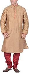 Kisah Men's Cotton Silk Kurta (KA-S-038K-42_Brown_42)