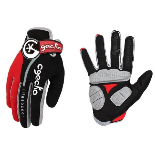 Cgecko Men's Reflex Gel Bike Full Finger Glove Cycling Skiing Skateboard Shock Pads