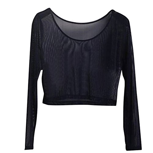 Weixinbuy Women Sheer Mesh Crop Long Sleeve Shirt