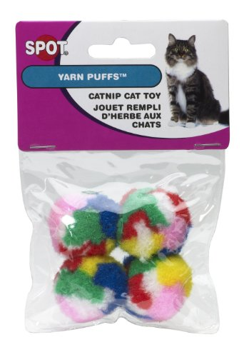 picture Ethical Kitty Yarn Puffs Cat Toys, 4 Small Balls