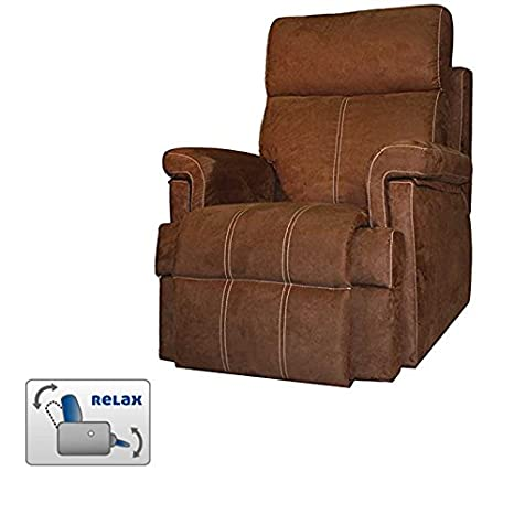 Maximum Comfort Sillon Relax With Opening by Lever-Colour Chocolate With Seam Beige