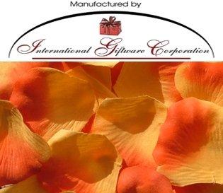 200 Silk Rose Petals Wedding Favors - Two Tone Color: Light/Dark Orange