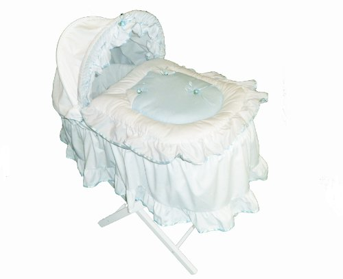 Beautiful Blue Roses Moses Basket With Long Skirt & White Wooden Folding Stand
