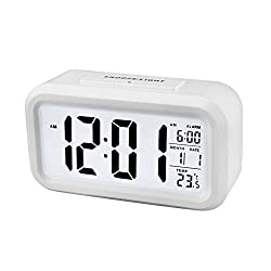 Shouldbuy White Snooze Digital LCD Desk Alarm Clock Calendar Thermometer with Backlight