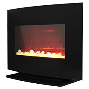 Warm House Black Curved Glass Electric Fireplace Heater Home Kitchen