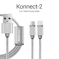 Portronics Konnect-2 two-in-one Multi function cable with lightning & micro usb port-Grey