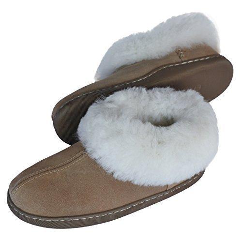 eskimo-zapatillas-de-casa-de-piel-de-cordero-autentico-de-mujer-beige-40