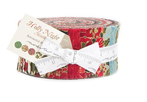 Moda Holly Night Metallic Jelly Roll by Sentimental Studios (Jelly Rolls Green compare prices)