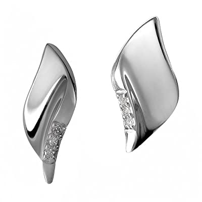 Hot Diamonds Pave Leaf Silver And Diamond Earrings