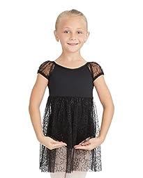 Capezio Big Girls\' Children\'s Collection Empire Waist Puff Sleeve Dress, Black Swirly, Intermediate