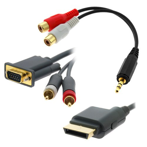 GTMax 6FT Gold Plated VGA Cable/Digital Optical Audio + 6inch 3.5mm Male to 2 RCA Female Y-Cable for Microsoft XBOX 360