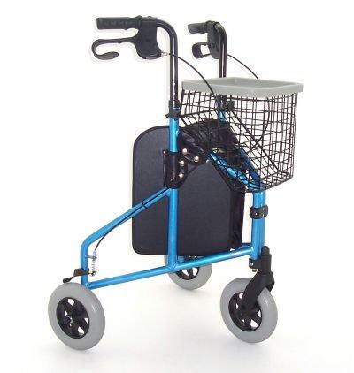 Déambulateur 3 roues compact en aluminium Bleu