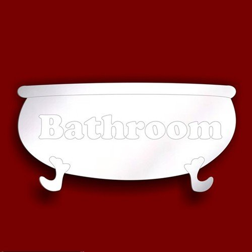 Bathroom PLAQUE- BATHTUB Door SIGN 12cm Acrylic Bathroom Mirror