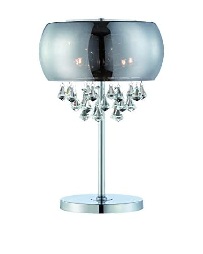 Lite Source Smoked Mirrored Table Lamp, Chrome/Smoke