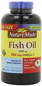 莱萃美 Nature Made Fish Oil Omega-3 1200mg 深海鱼油300粒SS折后$8.97