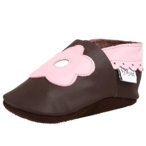 Bobux Infant/Toddler Flower Crib Shoe,Chocolate/Pink,Small (US Infant 1 M)