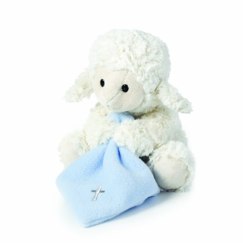 Nat and Jules Jesus Loves Me Musical Plush Lamb with Blanket, Blue