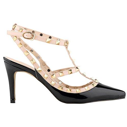 Loslandifen Ladies High Heels Party Wedding Count Pump Shoes(NX952-3PA-hei-39)