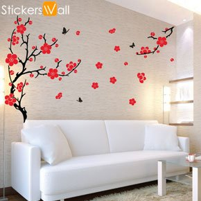 large plum blossom wall sticker red amazon co uk wallstickers folies african wall stickers