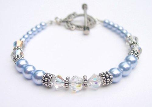 Pearl Bracelets: Pale Blue Pearl Swarovski Crystal Sterling Silver Marcasite Beaded Bracelets/White Pearl Bracelets