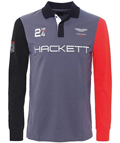 Hackett Aston Martin Racing Long Sleeve Polo Shirt Gray M (Hackett Clothing compare prices)
