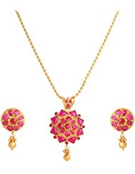 Abhijewels Gold Plated Pink Stone Studded Traditional Necklace With Earrings For Women