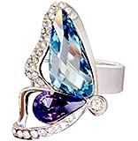 Le Premium® papillon cocon rupture anneau de mode MADE WITH SWAROVSKI® ELEMENTS -Aquamarine+tanzanite - taille de bague : 'N'