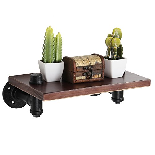 MyGift 12 Inch Wood Floating Shelf, Wall-Mount Display Rack w/ Industrial Pipes