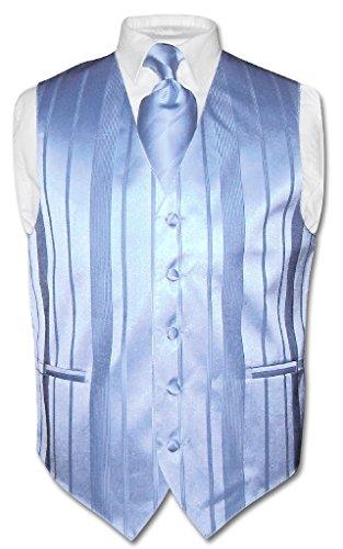 Men's Dress Vest NeckTie BABY BLUE Color Woven Striped Design Neck Tie Set sz M