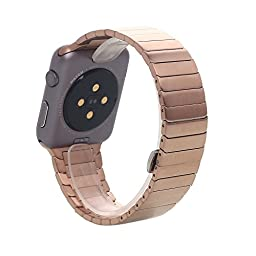 Apple Watch Band, Pandawell™ 316L Stainless Steel Link Bracelet Replacement Band Strap with Adapter for 38mm Apple Watch / Sport / Edition (38mm Rose Gold)
