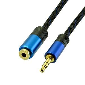 Tech'Import - Câble rallonge audio stéréo - Connecteurs Jack 3,5 mm Mâle et Femelle - Cordon en nylon - Longueur 3 m
